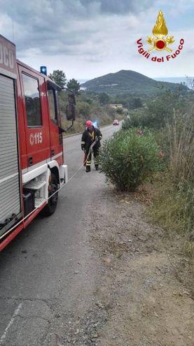 I vigili del fuoco sul luogo dell'incidente