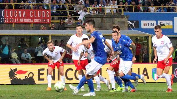 Italia-Polonia, il gol di Jorginho (Ansa)