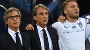 Mancini canta l'inno italiano, accanto a lui Oriali e Immobile (foto Schicchi)