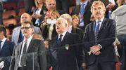 Il sindaco Merola, il  è diventato commissario straordinario Figc Fabbricini e il presidente della Federcalcio polacca Boniek (foto Schicchi)