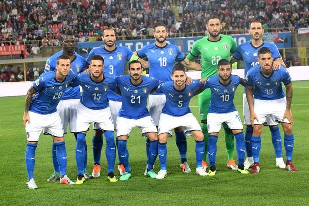 La formazione dell'Italia scesa in campo a Bologna (foto Schicchi)