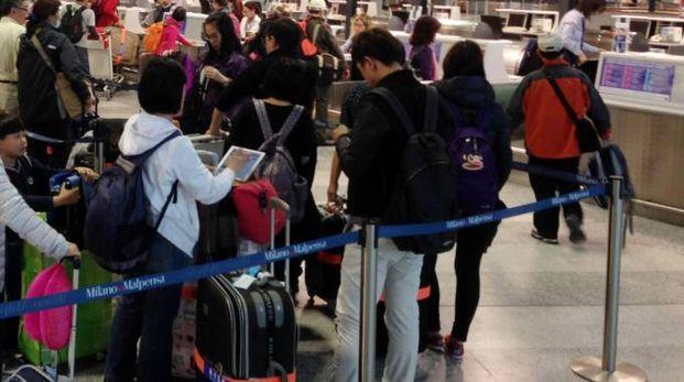 DISAGI Nella foto in alto un volo da Malpensa: il volo dei ragazzi era diretto allo scalo della Brughiera. Sopra coce ai check in