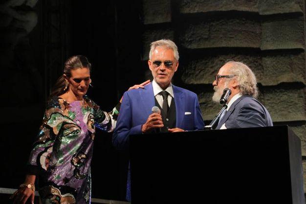 Celebrity night a Palazzo Pitti. Veronica e Andrea Bocelli con Stefano Ricci  (Umberto Visintini/New Press Photo)