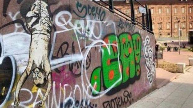 Il murales di Torino in cui è ritratto Matteo Salvini (Dire)