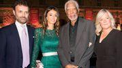 Niccolò Ricci, Elisabetta Bardelli Ricci e l'attore americano Morgan Freeman con la consorte