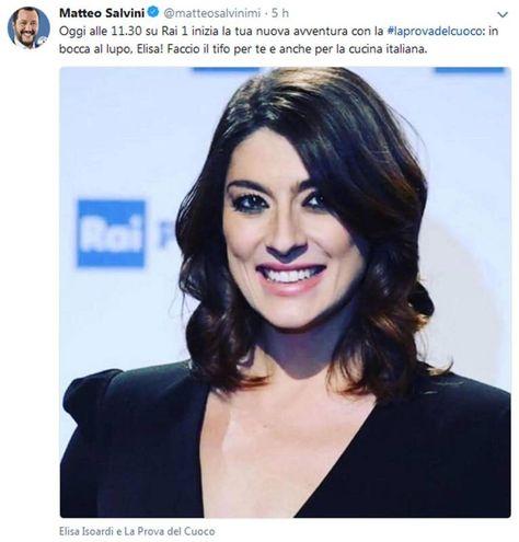 Il tweet con cui il leader della Lega e vicepremier Matteo Salvini ha fatto gli auguri ad Elisa Isoardi (Ansa)