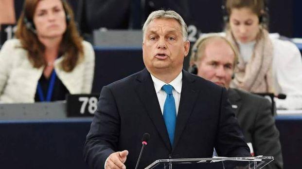 Il primo ministro ungherese Viktor Orban al Parlamento Ue (Lapresse)