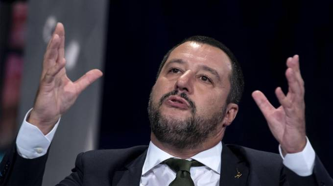 Matteo Salvini a Porta a Porta (foto Ansa)