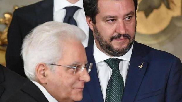 Il presidente della Repubblica Sergio Mattarella e Matteo Salvini (Ansa)