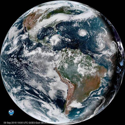 L'uragano Florence nelle immagini satellitari della NOAA (Ansa)