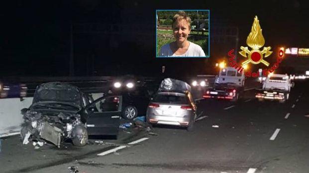Il drammatico incidente in A8 e la vittima Barbara Fettolini (nel riquadro)