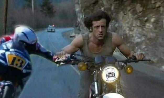In questo fotomontaggio Fenati frena Stallone nei panni di Rambo