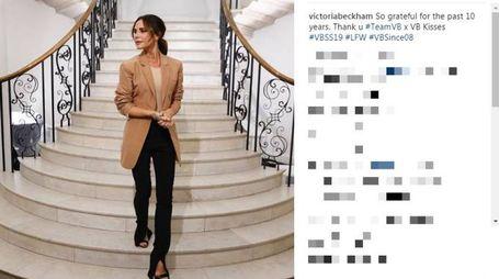 Victoria Beckham, sfilata a Londra per i 10 anni del suo brand (Instagram)