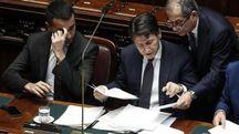 Giovanni Tria, Giuseppe Conte e Luigi Di Maio (Ansa)