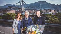 Pioli e Antognoni al ponte Morandi, con l'assessore allo sport, Ilaria Cavo (Violachannel)