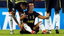 Cristiano Ronaldo in lacrime dopo l'espulsione (Ansa)
