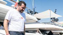 Matteo Salvini a Genova (foto Lapresse)