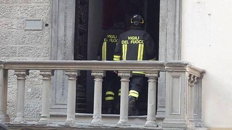 I vigili del fuoco all'archivio di stato