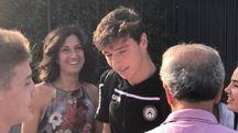 Agnese Landini Renzi con il figlio Francesco dopo la partita