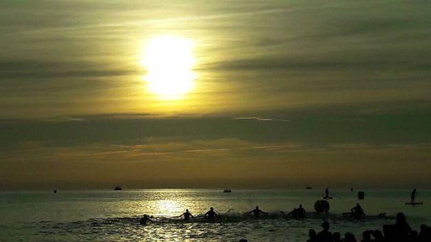 Ironman a Cervia, si parte in mare (foto Degidi-Bedeschi)