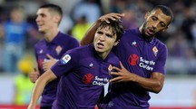 Fiorentina-Spal, l'esultanza di Federico Chiesa (Lapresse)