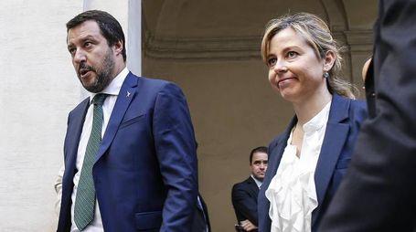 Matteo Salvini e Giulia Grillo a Palazzo Chigi (Ansa)