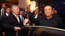 L'arrivo di Silvio Berlusconi a Fiuggi (Ansa)