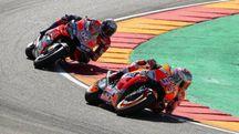 MotoGp Aragon 2018, la battaglia Marquez-Dovizioso (Ansa)