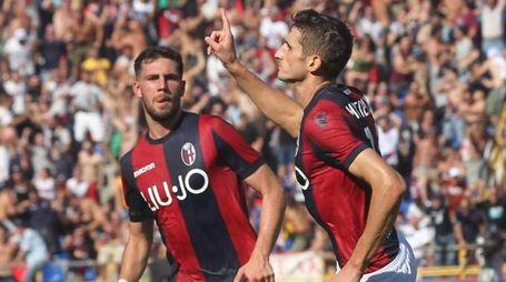 Bologna-Roma, Mattiello esulta dopo il gol (Ansa)