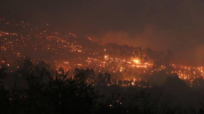 Il devastante incendio sul Monte Serra (Foto Valtriani)