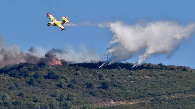 Vasto incendio sul Monte Serra