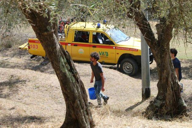 Incendio Monte Serra (Pisa).  Il  grande lavoro dei vigili del fuoco e dei volontari (Valtriani)