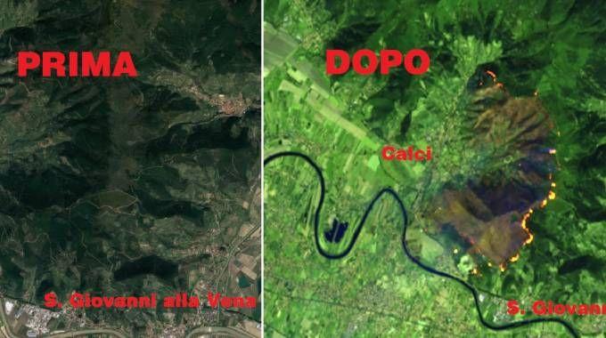 La zona del Monte Serra prima e dopo l'incendio