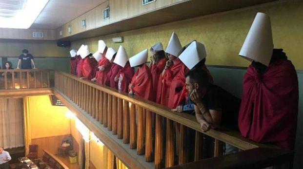 La protesta di 'Non una di meno' in consiglio comunale di Verona (Ansa)