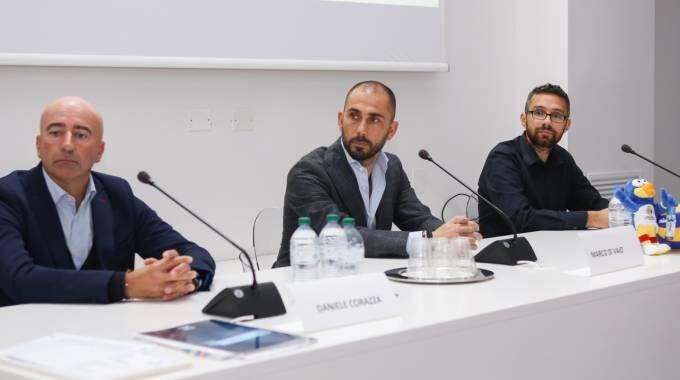 Il responsabile del vivaio Daniele Corazza, Marco Di Vaio e Andrea Cappelletti, Fipav