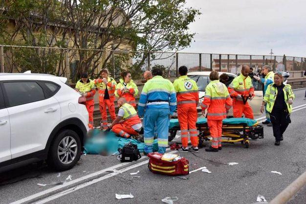 La scena dell'incidente (Foto Novi)