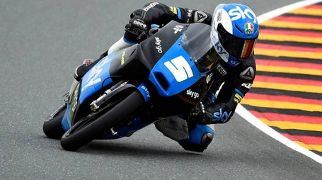 Romano Fenati from Italy speeds up during the Moto3 Qualifying at the Sachsenring circuit in Hohenstein-Ernstthal, Germany, Saturday, July 12, 2014. (AP Photo/Jens Meyer)