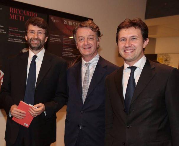 Il ministro Dario Franceschini, il sovrintendente Francesco Bianchi e il sindaco Dario Nardella (foto Gianluca Moggi/ New Press Photo)