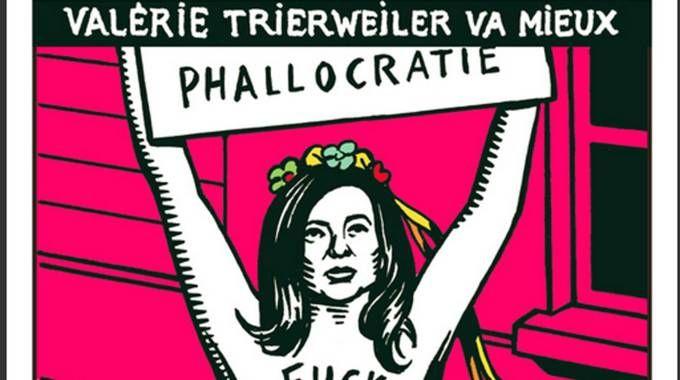 Una copertina del giornale satirico Charlie Hebdo dedicata a Valerie Trierweiler (Ansa)