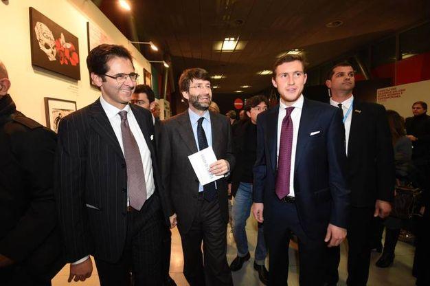 Da sinistra il direttore dei progetti editoriali della Poligrafici Pierluigi Masini, il ministro Franceschini e Bruno Riffeser Monti