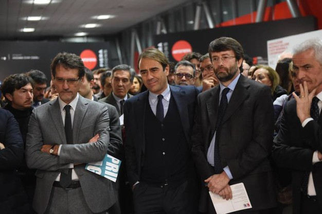 Da sinistra il sindaco di Bologna Virginio Merola, il direttore Andrea Cangini e il ministro Dario Franceschini