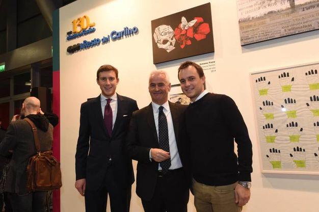 Da sinistra Bruno Riffeser Monti, il vice direttore generale di Bper Pierpio Cerfogli e Matteo Monti Riffeser