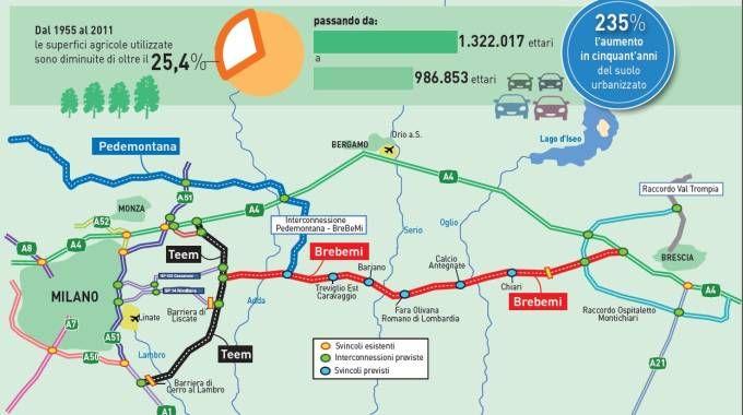 La mappa delle nuove autostrade in Lombardia: Teem, Brebemi e Pedemontana