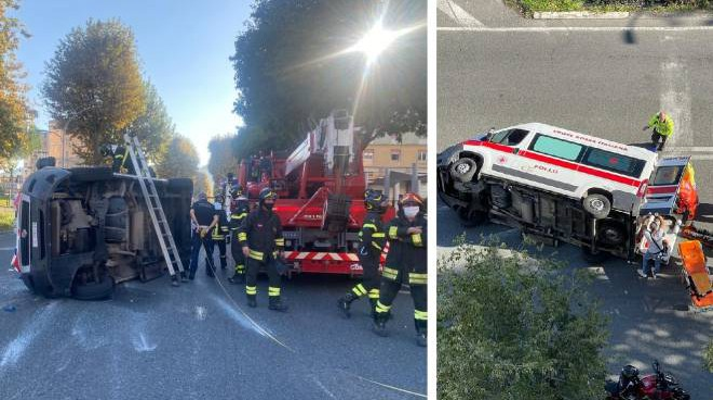 La Spezia accident: two ambulances collide; one overturns.  Injured volunteers