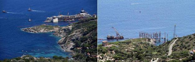Prima e dopo la partenza della Costa Concordia dall'Isola del Giglio (foto ANSA/ CLAUDIO GIOVANNINI)