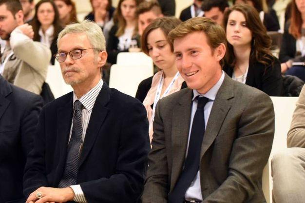 Roberto Grandi e  il responsabile Immagine e comunicazione della Poligrafici Bruno Riffeser Monti (foto Schicchi)