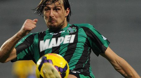 Sassuolo's Francesco Acerbi, Saturday 24 November 2013, at Mapei Stadium Reggio Emilia,  during Italian Serie A soccer match between Sassuolo-Atalanta at Mapei Stadium Reggio Emilia, 24 November 2013. ANSA/PIERPAOLO FERRERI