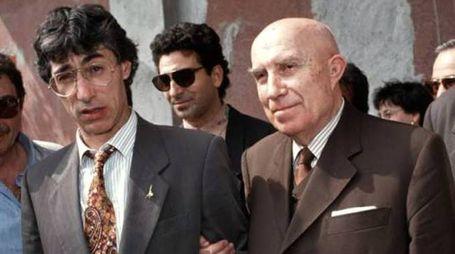 Un giovane Senatùr con l'ideologo Gianfranco Miglio