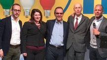 NEW ENTRY Nella foto, da sinistra, Mauro Piazza, Sabrina Mosca, Stefano Parisi, Alberto Cavalli e Daniele Nava Piazza, Mosca e Cavalli ieri hanno aderito ufficialmente ad Energie per l'Italia