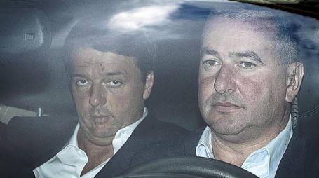 Il segretario del Pd Matteo Renzi arriva alla Direzione (foto Ansa)